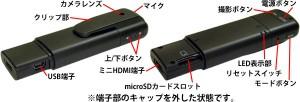 ペン型HDビデオカメラ AME-130の各部名称