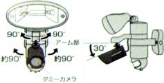 ダミーカメラ付きセンサーライトC-150の稼動範囲