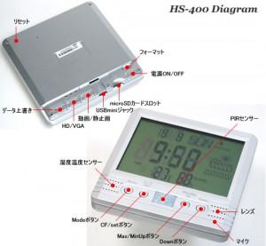クロック(時計)偽装型ビデオカメラHS-400の各部名称
